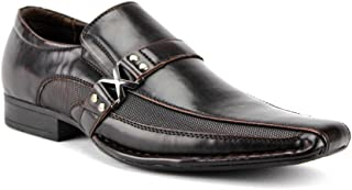 Bonafini Men's A-188 Bleted Strap Casual Dress Shoes Loafers