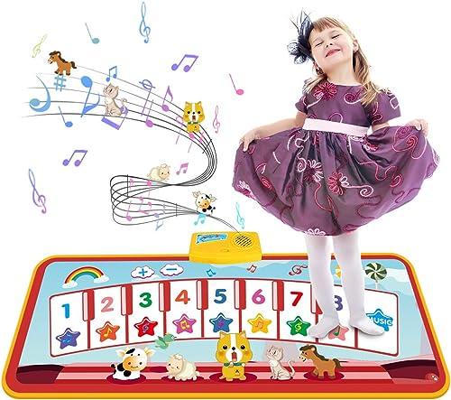 Tecboss Tapis de Piano pour Enfant, Tapis Musical Bébé Tapis de Danse Tapis de jeu pour Piano avec 8 Touches, 5 Sons ...