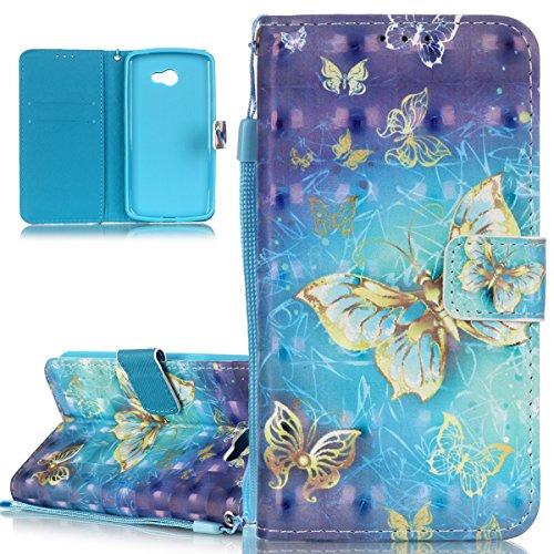 ISAKEN Custodia Cover Compatibile con LG K5 Elegante Borsa Custodia in Pelle PU Flip Portafoglio Protezione Caso con Supporto di Stand/Carte Slot/Strap/Chiusura - Glitter Farfalla
