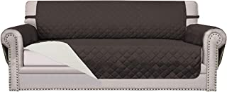Easy-Going Sofa Slipcover Reversible Sofa Cover Furniture Protector Anti-Slip Foams Couch Cover Water Resistant Elastic Straps PetsKidsChildrenDogCat(Oversized Sofa,Chocolate/Ivory)