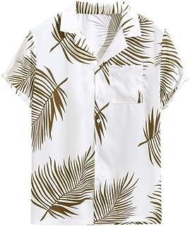 IHGTZS Shirts for Men, Men's Summer Button Hawaii Print Beach Pocket Short Sleeve Quick Dry Top Blouses
