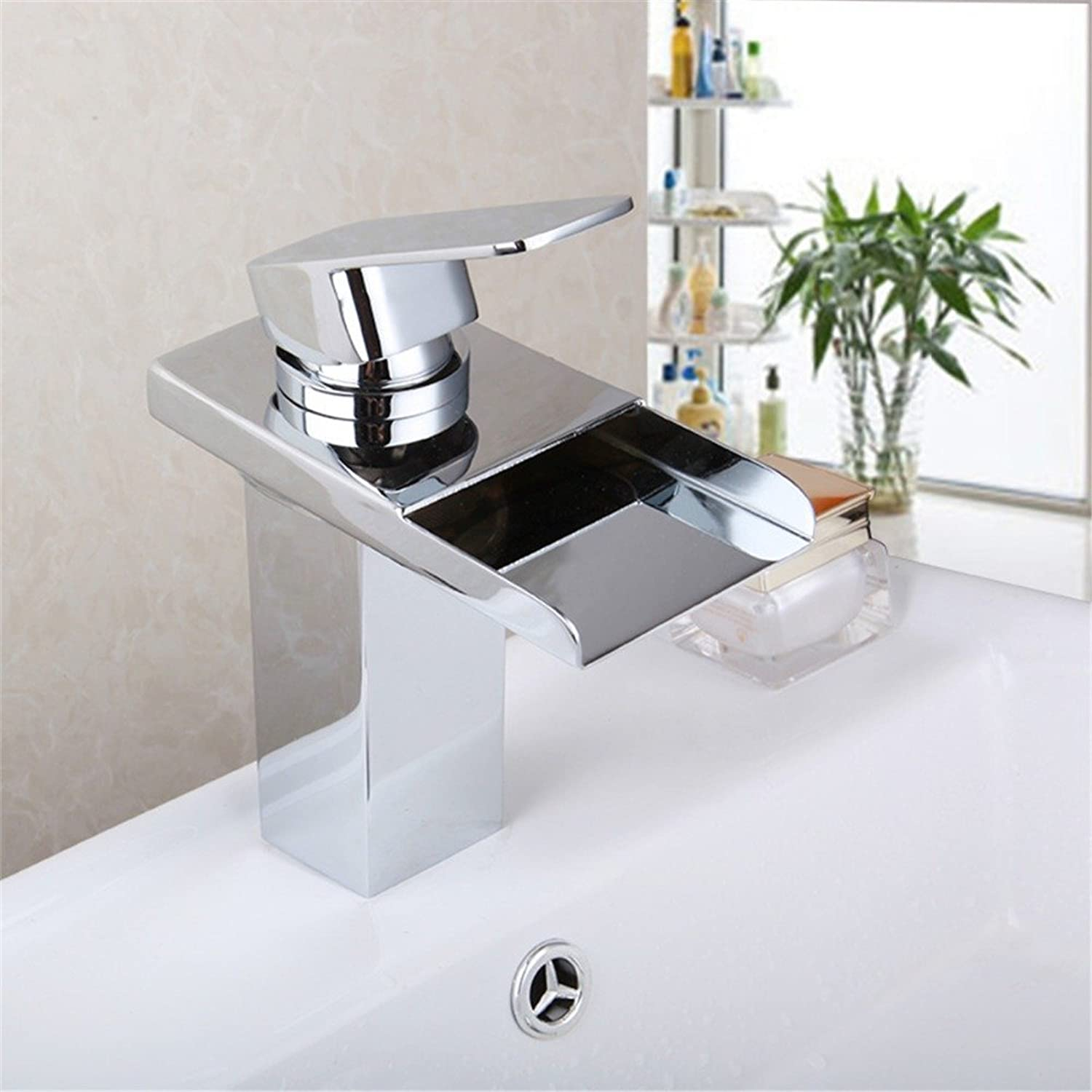 Tourmeler Newest Led Faucet Bathroom Basin Faucet Brass Chromed Led Waterfall Taps Water Power Basin Led Mixer Deck Mounted