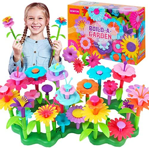 BEMITON Girls Toys for 3 4 5 6 Years Old Flower Garden Building Set and Best Birthday Gift for product image