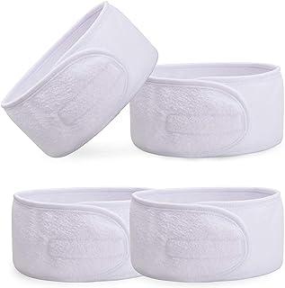 4 Pieces White Headbands, Facial Skin Care Make Up Bath Shower Wide Head Wrap, Adjustable Headband Cloth Hair Styling Tool...