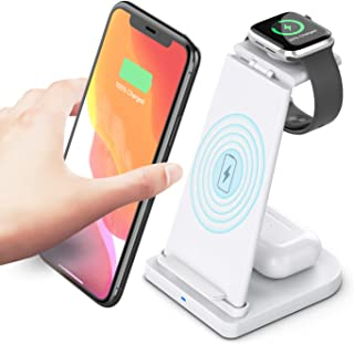 15w Fast Qi Magnetic, Detachable, Wireless Phone Charging Dock Station 3 in 1 For iPhone, Airpods, Watch (White)