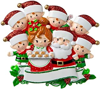Personalized Santa & Mrs Claus with 6 Child Christmas Tree Ornament 2019 - Sweet Family Gingerbread Tradition Elf Surprise Made Cookie Cozy Holiday Foster Papa Nana Year Gift - Free Customization