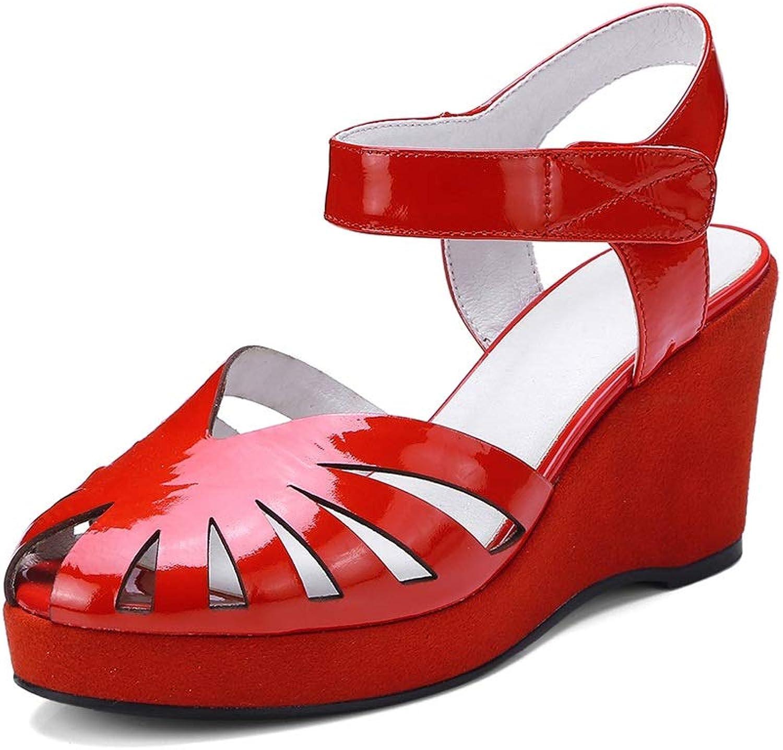 MENGLTX High Heels Sandalen Plus Größe 34-44 Neue Echte Echte Echte Leder Damen Sandalen Wedges Damen High Heel Sommer Damen Casual Schuhe Frau 76a