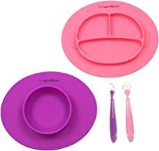Silicone Bowl and Silicone Plate Easily Wipe Clean - Self Feeding Set Reduces Spills - Spend Less Time Cleaning After Meals with a Baby or Toddler - Set Includes 2 Colors (Purple/Pink)