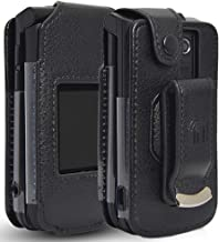Orbic Journey Phone Case, Nakedcellphone [Black Vegan Leather] Form-Fit Cover with [Built-in Screen Protection] and [Metal...