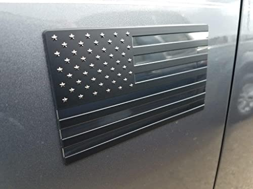 EyeCatcher USA Flag Emblem Decal Black - 2 Pack