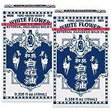 White Flower External Analgesic Balm Oil 10ml/ 0.338fl Oz, Authentic US Import (2 Packs)
