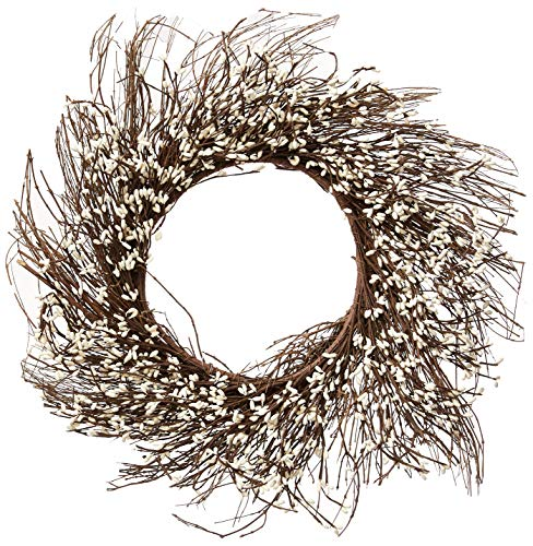 CWI Gifts, Ivory Pip Berry Twig Wreath, 22-Inch, Vanilla