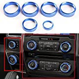 6pcs Blue Aluminum Air Conditioner & Trailer & 4WD Switch Knob Ring Cover Trim For Ford F150 XLT 2016 2017 2018 2019