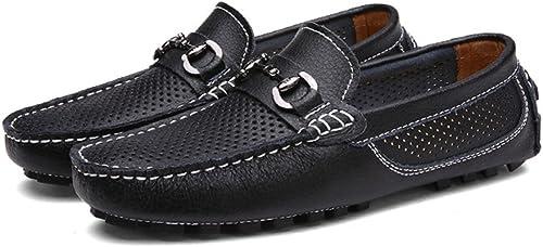 JUJIANFU-Chaussures Confortables Mocassins de Conduite Classiques pour Hommes Vamp Penny Boat Chaussures Creuses Mocassins Soft Sole Leisure (Couleur   Noir, Taille   44 EU)
