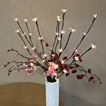 2 Pack Branch Lights - Led Branches Battery Powered Decorative Lights Tall Vase Filler Willow Twig Lighted Branch for Home Decoration Warm White - 20 Inches 20 LED Lights(Cherry Branch Light)