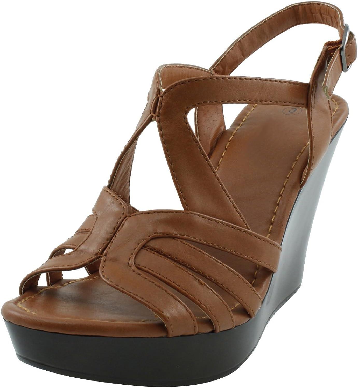 Cambridge Select Women's Ankle Strappy Open Toe Slingback Cutout Platform Wedge Sandal