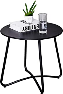 CaiFang Patio Metal Side Table, Round Small Portable Weather Resistant Outdoor Coffee Table Perfect for Garden, Yard, Balc...