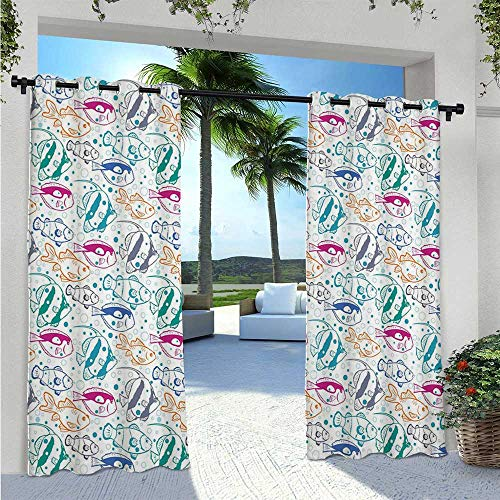 Adorise Outdoor Waterproof Curtain Marine Design Ocean Animals Underwater Hand Drawn in Lively Colors Retro Cartoon Style Blackout Curtains Block The Sunlight and for Privacy W120 x L84 Inch