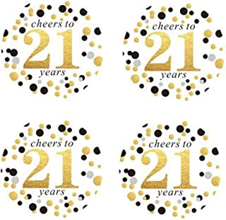 """2"""" Round 50 Pack of Cheers to 21 Years Label Stickers Birthday Party Sticker Labels 21st Birthday Party Favor Stickers 21s..."""