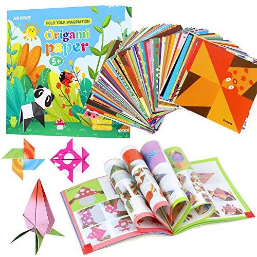 Kit de origami para nios de BESLIME C para origami, contiene 192 hermosos Origami y un tutorial diseado especialmente para los nios principiantes y las guas escolares.