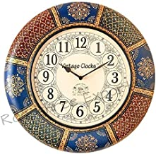 Vintage Clock Wooden Hand-Painted Wall Clock / 1 Year Warranty / 16 Inches (40 CM's)
