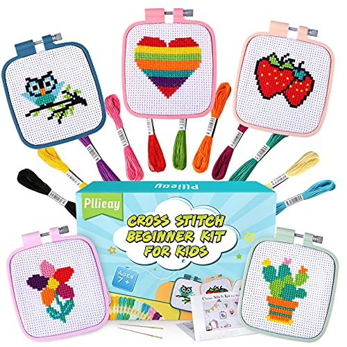Pllieay 5PCS Cross Stitch Beginner Kit for Children 7-13, Includes 5 Project...