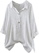 iYBUIA Women Button Up Pullover Striped Top T Shirt Plus Size Three Quarter Flare Sleeve Tunic Blouse