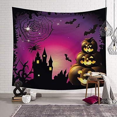 AF Decoraciones de Halloween Tapiz, Camino a través de la Oscuridad en el Bosque con Niebla Calabaza de Halloween Decoración de la casa encantada, Dormitorio Sala de Estar Dormitorio
