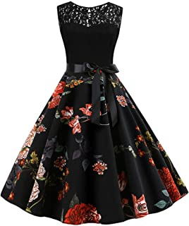 Fankle Women's Vintage Lace Patchwork Cocktail Swing Party Dresses 1950s Classy Rockabilly Retro Floral Pattern Print Crew...