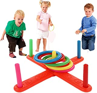 Binory US Fast Shipment 2019 Summer Outdoor Toy,Hoop Ring Toss Plastic Ring Toss Quoits Garden Game Toy,Outdoor Fun Set,Developmental Intelligence Toy for Kids,Puzzle Educational Learning Toy