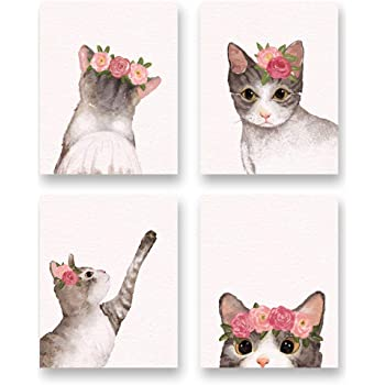 Animal Fabric Knit Together Cats Toss on Black Kanvas YARD
