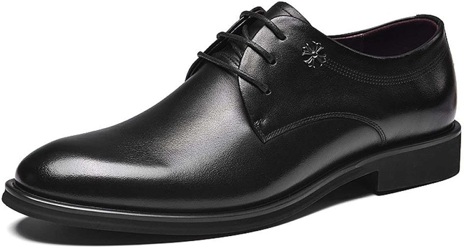 HGDR Men's Formal shoes Black Genuine Leather Round Toe Lace Up Derby shoes Smart Dress Wedding Office Business shoes