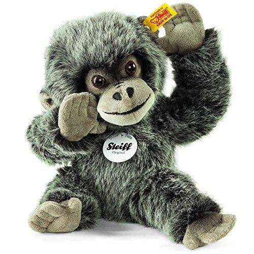 Steiff Boogie Gorilla Baby - 25 cm - Kuscheltier für Kinder - Plüschaffe - weich & waschbar - grau gespitzt (062292)