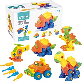 PUSITI Take Apart Toys 5 Pack Building Set 145 Pieces STEM Dinosaurs Helicopter Car Preschool Learning Construction Toys f...