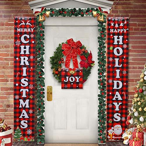 Hongyans 3 Stück Weihnachten Veranda Banner, Rotes Plaid Merry Christmas Banner Happy Holidays Banner Weihnachten Veranda Seichen für Haustür Zuhause Wand Dekoration
