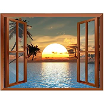 "wall26 Tropical Beach Landscape with Palm Trees at Sunset View from Inside a Window Removable Wall Sticker/Wall Mural - 24""x32"""