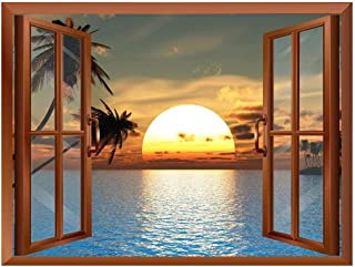 wall26 Tropical Beach Landscape with Palm Trees at Sunset View from Inside a Window Removable Wall Sticker/Wall Mural - 24