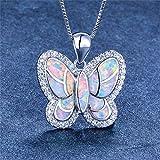 Colgantes De Plata 925 para Mujer,Moda Cute Chainless Romántico Estilo Boho Mariposas De Colores Forma Animal Encante para Damas Accesorios Joyas Regalo De Cumpleaños Parte Acc