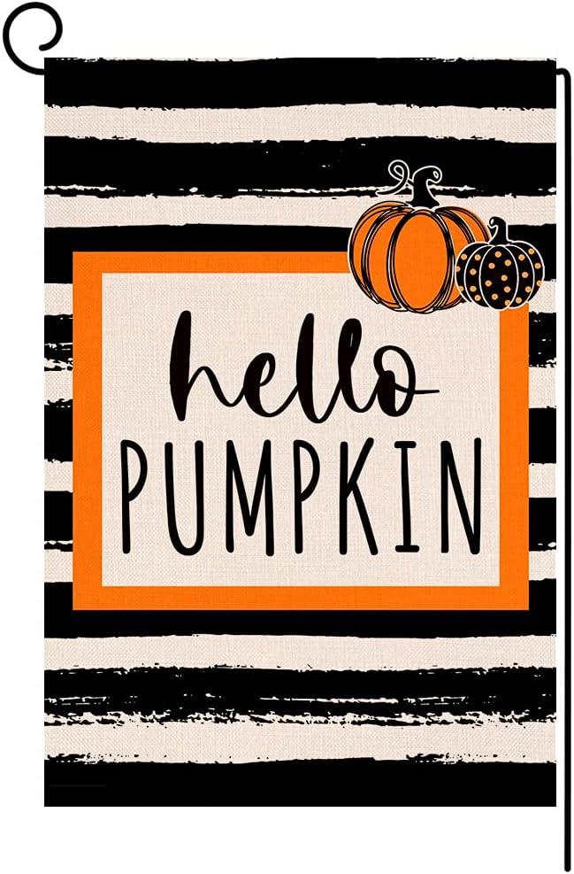 BLKWHT Fall Stripe Pumpkin Small Garden Flag Vertical Double Sided Autumn Halloween Thanksgiving Black Burlap Yard Outdoor Decor 12x18 Inches BW029