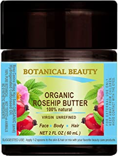 ROSEHIP SEED OIL - BUTTER ORGANIC 100 % Natural / VIRGIN / UNREFINED / RAW / 100 PURE BOTANICALS. 2 Fl.oz.- 60 ml. For Skin, Hair and Nail Care.