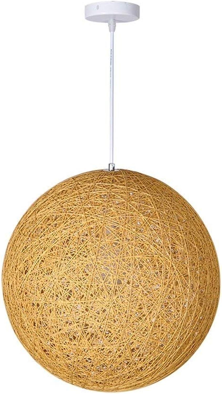 RBB Modern Minimalist Living Room Chandelier, Hemp Rattan Deckenleuchte für Schlafzimmer Restaurant Bar Runde Ball Lampe,25  25cm