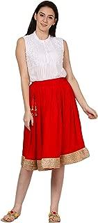 Women's Skirts Knee Length Rayon Wrap Golden Lace Fringe Designer Black Skirts