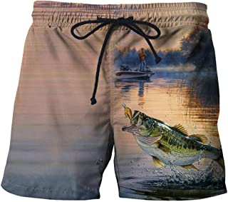Men'S Shorts Beach Shorts 3D Fish Casual Straight Printed Shorts