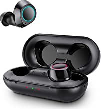 True Wireless Earbuds, Bluetooth 5.0 Headphones Auto Paring IPX5 Waterproof Bluetooth Earphones with Charging Case, 25H Playtime HiFi Stereo Sound Deep Bass in-Ear Headphones for iphone Android(Black)