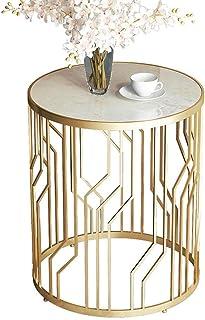コーヒーテーブル サイドテーブル アクセントテーブルラウンドソファエンドテーブル大理石のカウンタートップ&金属製、リビング/バルコニー/ベッド小さなテーブル - 49x56cm、ゴールドコラ