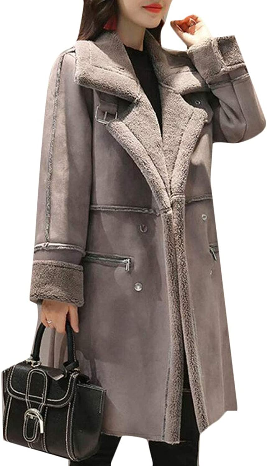 Rrive Women Casual Linen Fleece Faux Suede Thicken Buttons Long Trench Coat