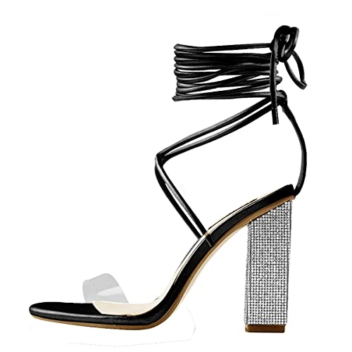06defaded6dd onlymaker Women s Gladiator Ankle Strap Clear Rhinestone Lace up Chunky High  Heel Strappy Sandals