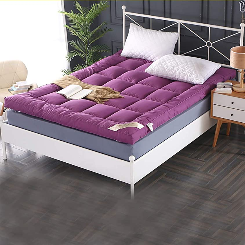 ピクニック革命畳を厚く,布団を折りたたみ マットレス 滑り止め床 パッドを睡眠 通気性 マットレス 家庭用トッパー-パープル 150x200cm(59x79inch)