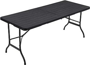 SONGMICS klaptafel, grote tuintafel met kunststof houtkorreloppervlak, opklapbare campingtafel, veiligheidsgrendels, terras, tuin, feest, waterdicht, 180 x 75 x 74 cm, zwart GPT05BK