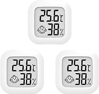 Juego de 3 mini termómetros digitales e higrómetro para interior y exterior